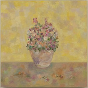 "Flowers in Vase (Gold) • 2008 • Oil on Canvas • 18"" x 18"""