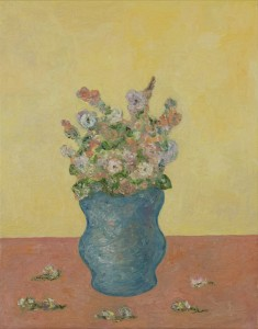 "Flowers in Blue Vase against a Yellow Background • 2009 • Oil on Canvas • 14"" x 11"""