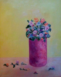 "Flowers in Red Vase • 2008 • Oil on Canvas • 14"" x 11"""