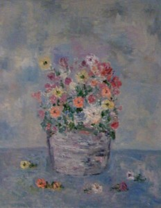 "Flowers in Silver Bucket • 2008 • Oil on Canvas • 14"" x 11"""